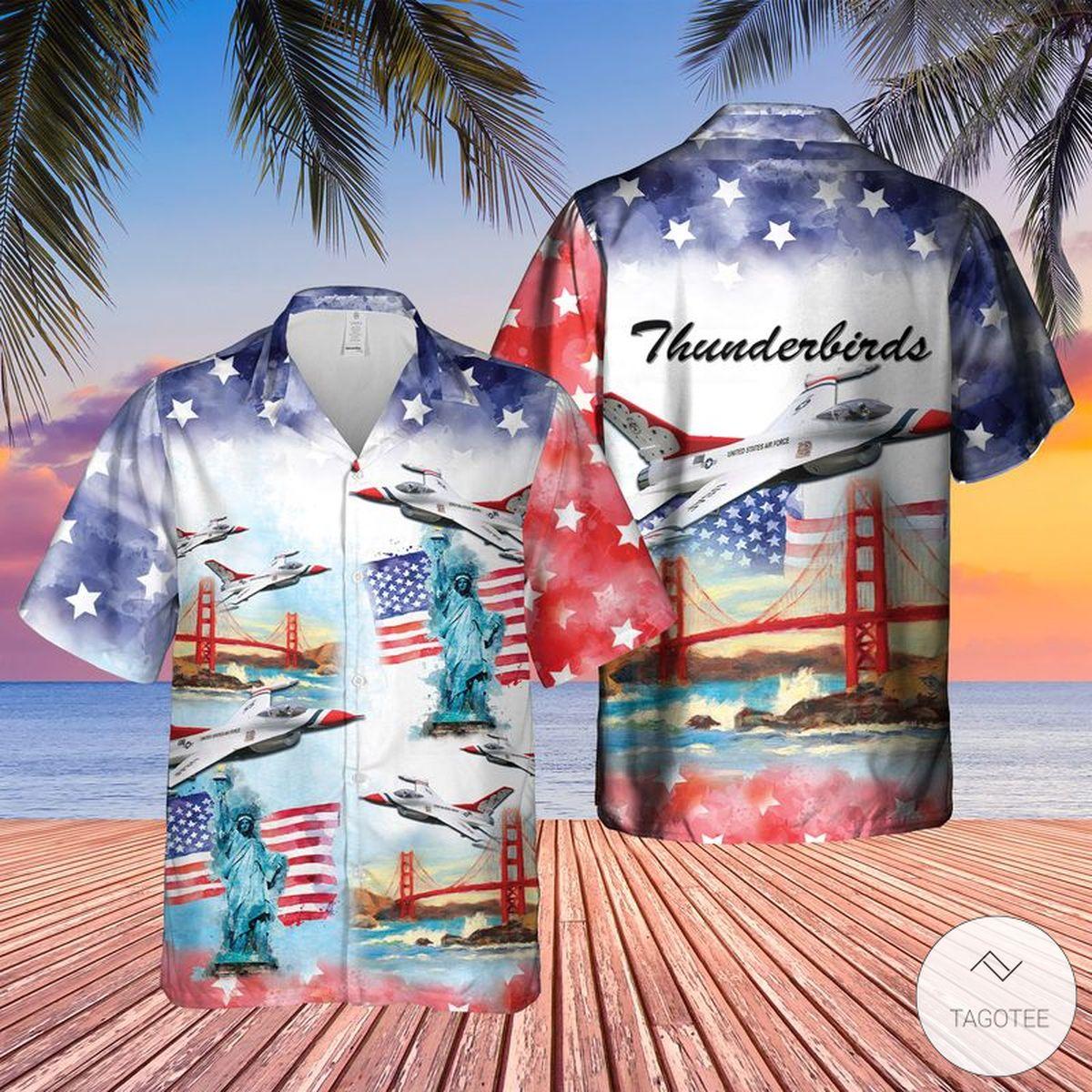 Thunderbirds USAF Air Show 4th of July Hawaiian Shirt, Beach Shorts