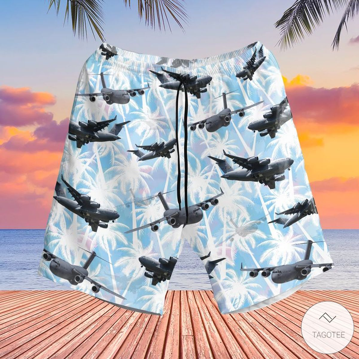 Beautiful US Air Force Boeing C-17 Globemaster III Hawaiian Shirt, Beach Shorts