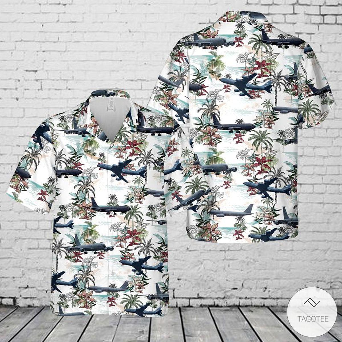US Air Force Boeing KC-135R Hawaiian Shirt, Beach Shorts