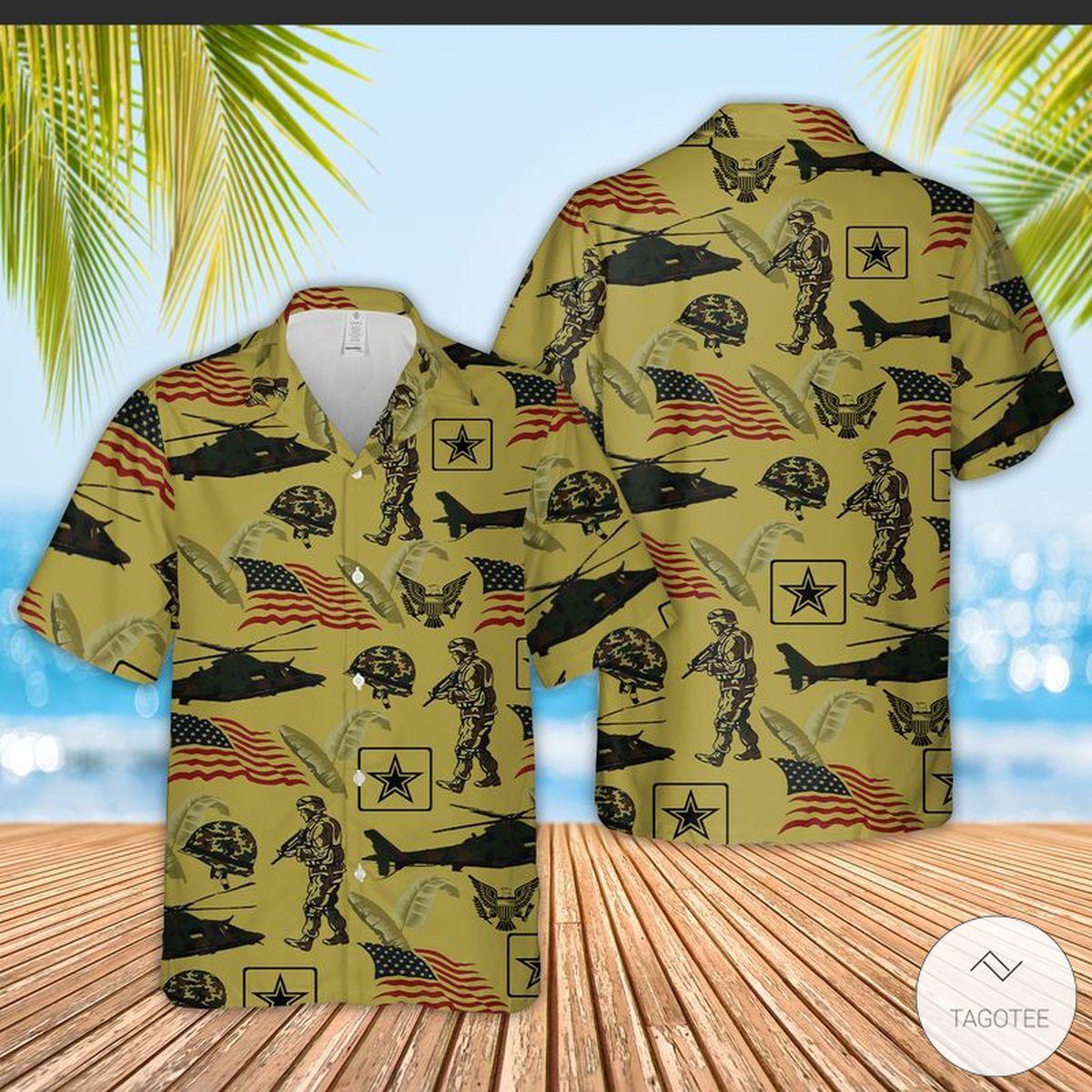 US Army Short Sleeve Hawaiian Shirt