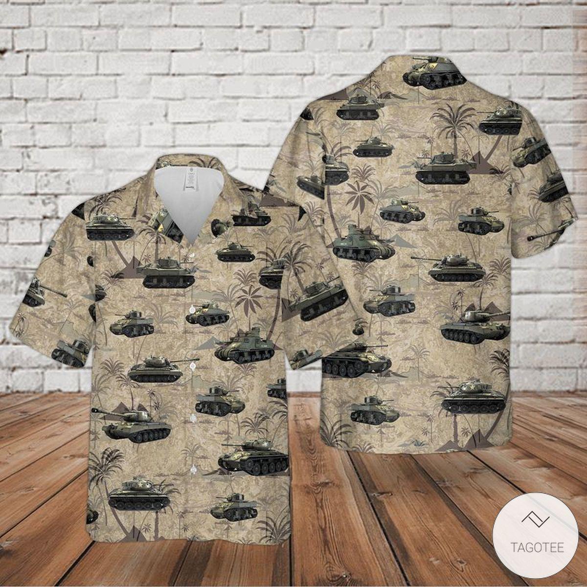 US Army Tanks WWII Hawaiian Shirt