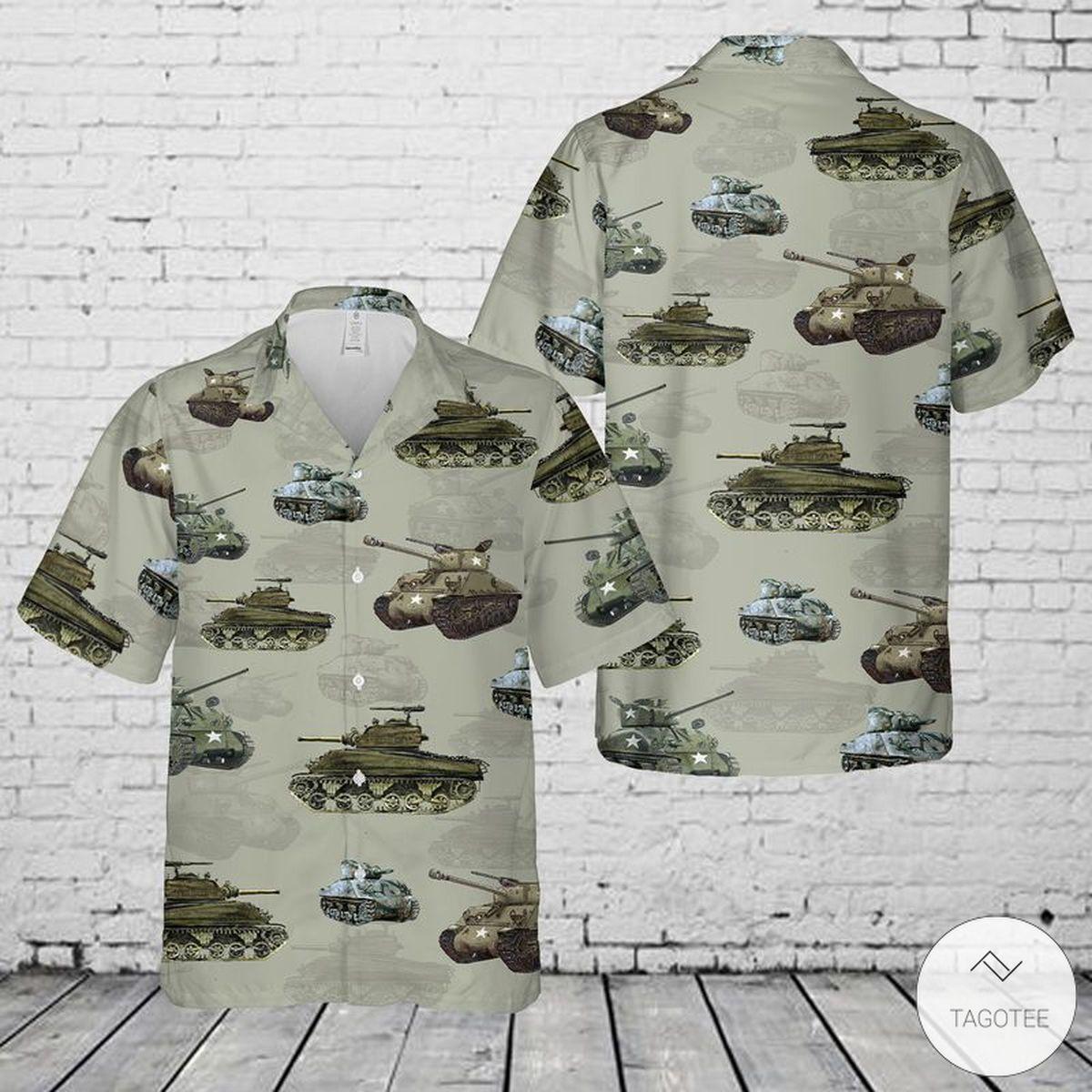 US Military M4 Sherman Tank Hawaiian Shirt, Beach Shorts