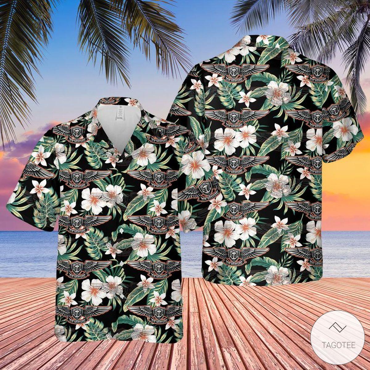US Navy Enlisted Aviation Warfare Specialist Hawaiian Shirt, Beach Shorts