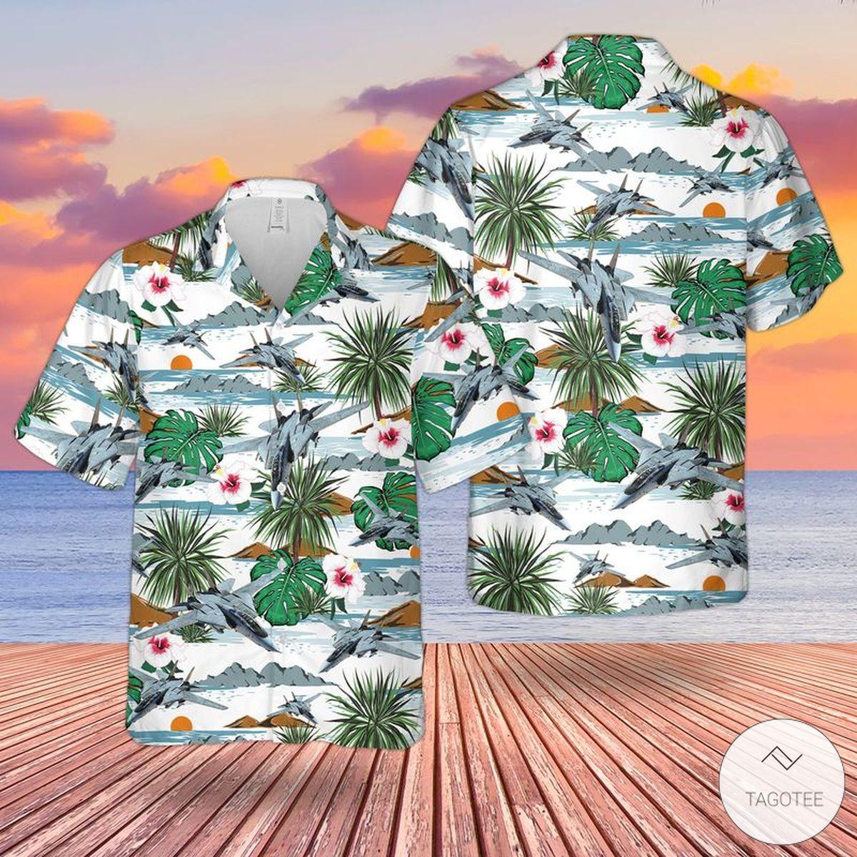 US Navy Grumman F-14 Tomcat Hawaiian Shirt, Beach Shorts