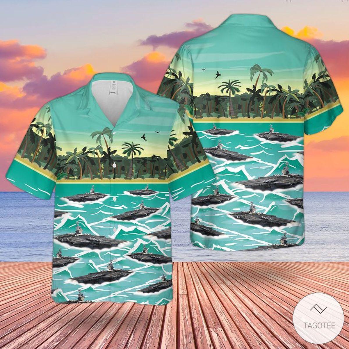 US Navy USS George Washington (CVN-73) Hawaiian Shirt, Beach Shorts
