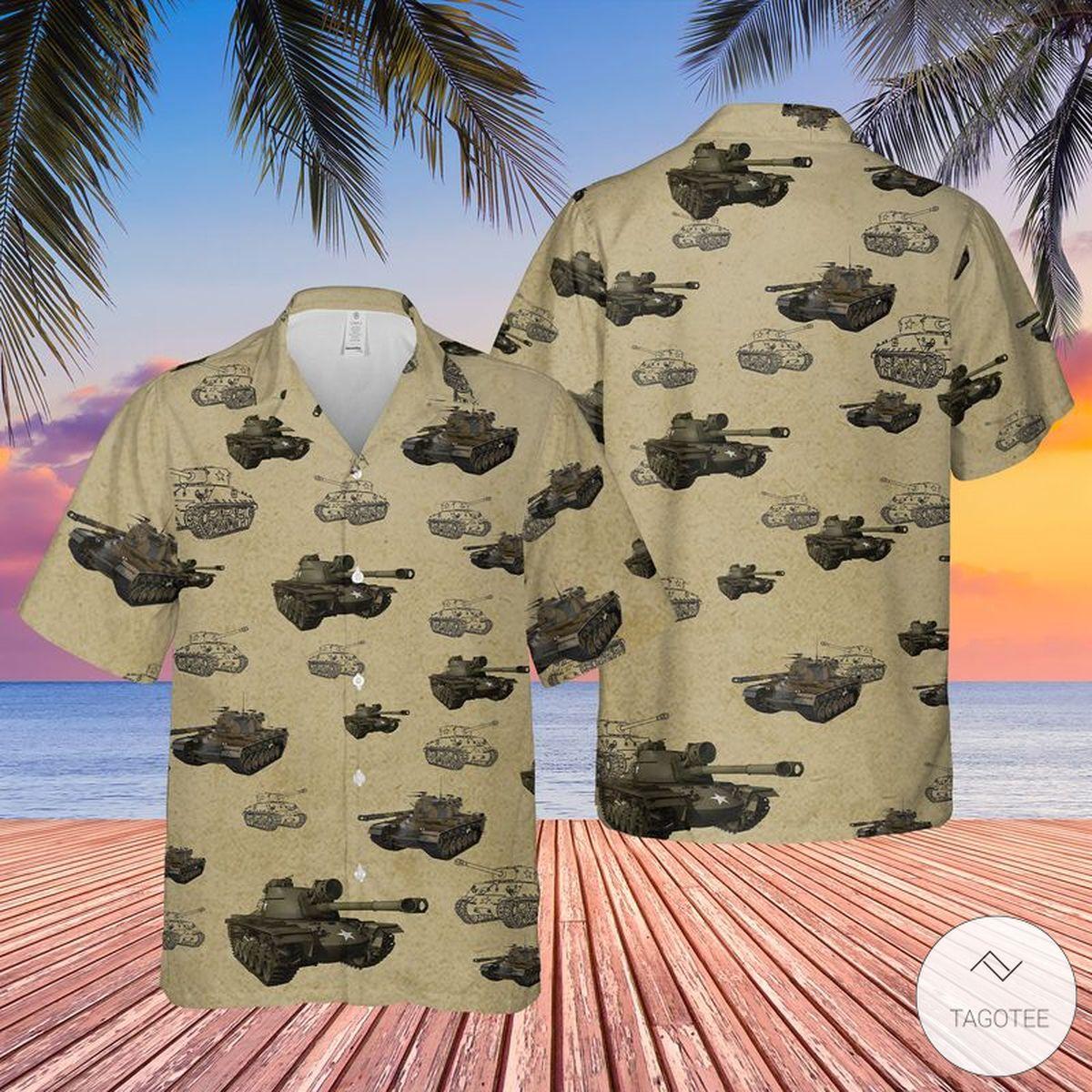 United States Army M48 Patton Tank Hawaiian Shirt, Beach Shorts