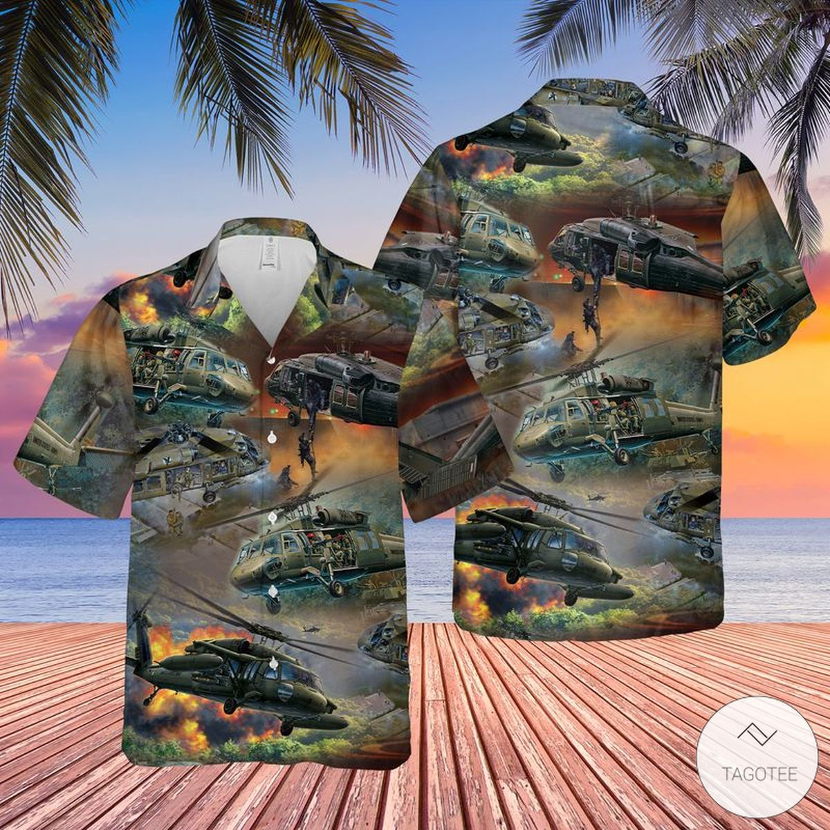 United States Army Sikorsky UH-60 Black Hawk Helicopter Hawaiian Shirt, Beach Shorts