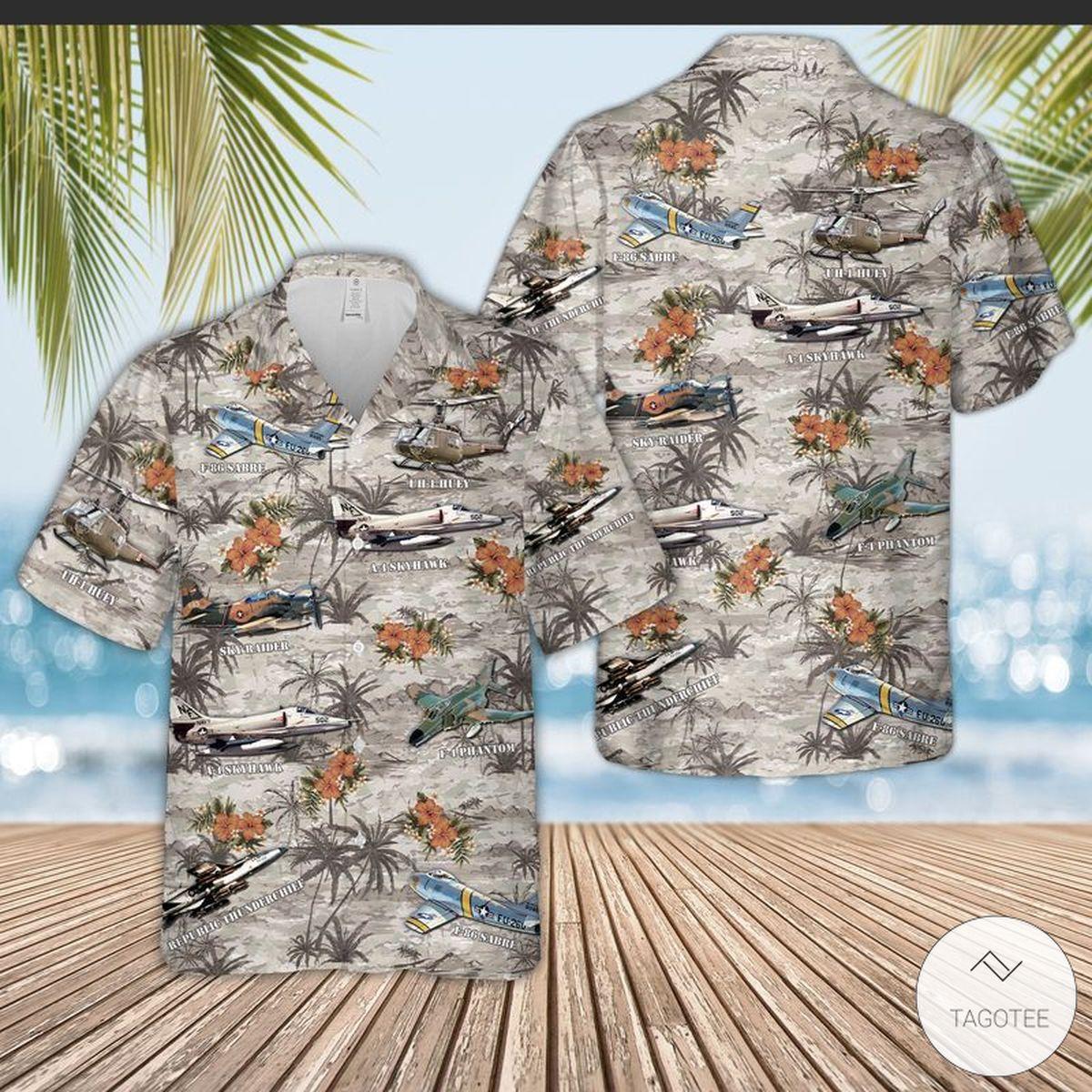 Vietnam Aircraft And Huey Helicopter Hawaiian Shirt, Beach Shorts