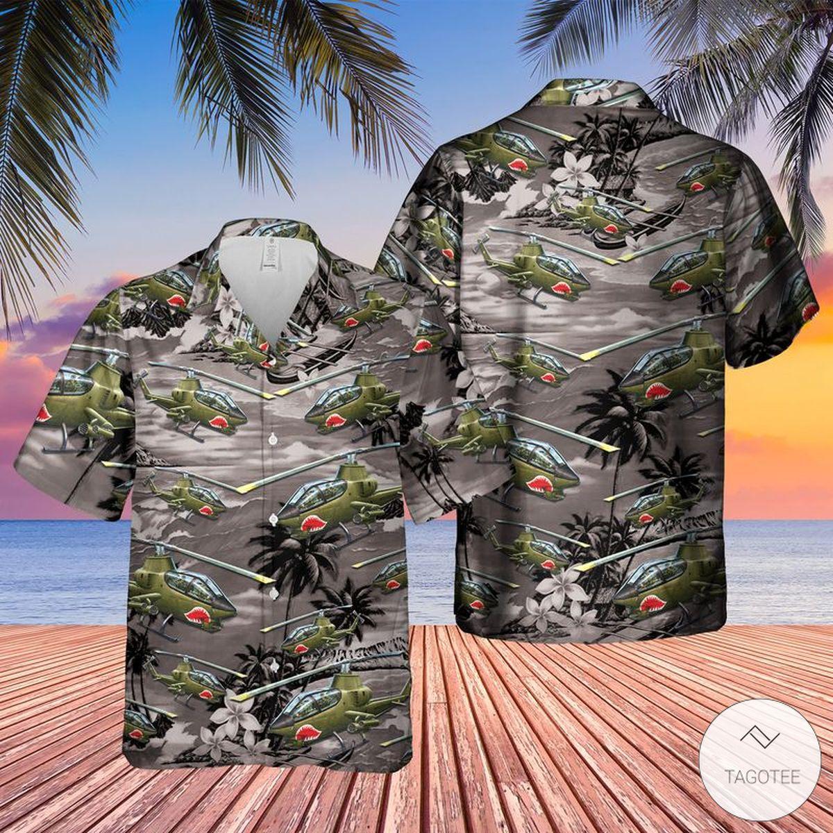 Vietnam Era AH-1 Cobra Helicopter Hawaiian Shirt, Beach Shorts