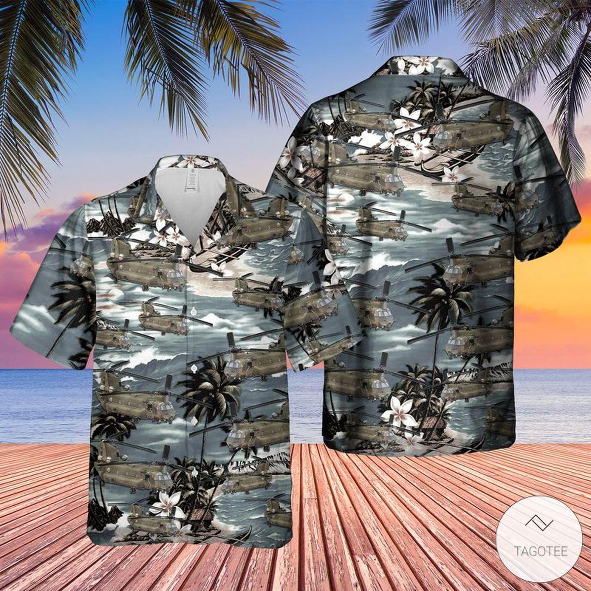 Vietnam Era CH-47 Chinook Helicopter Hawaiian Shirt, Beach Shorts