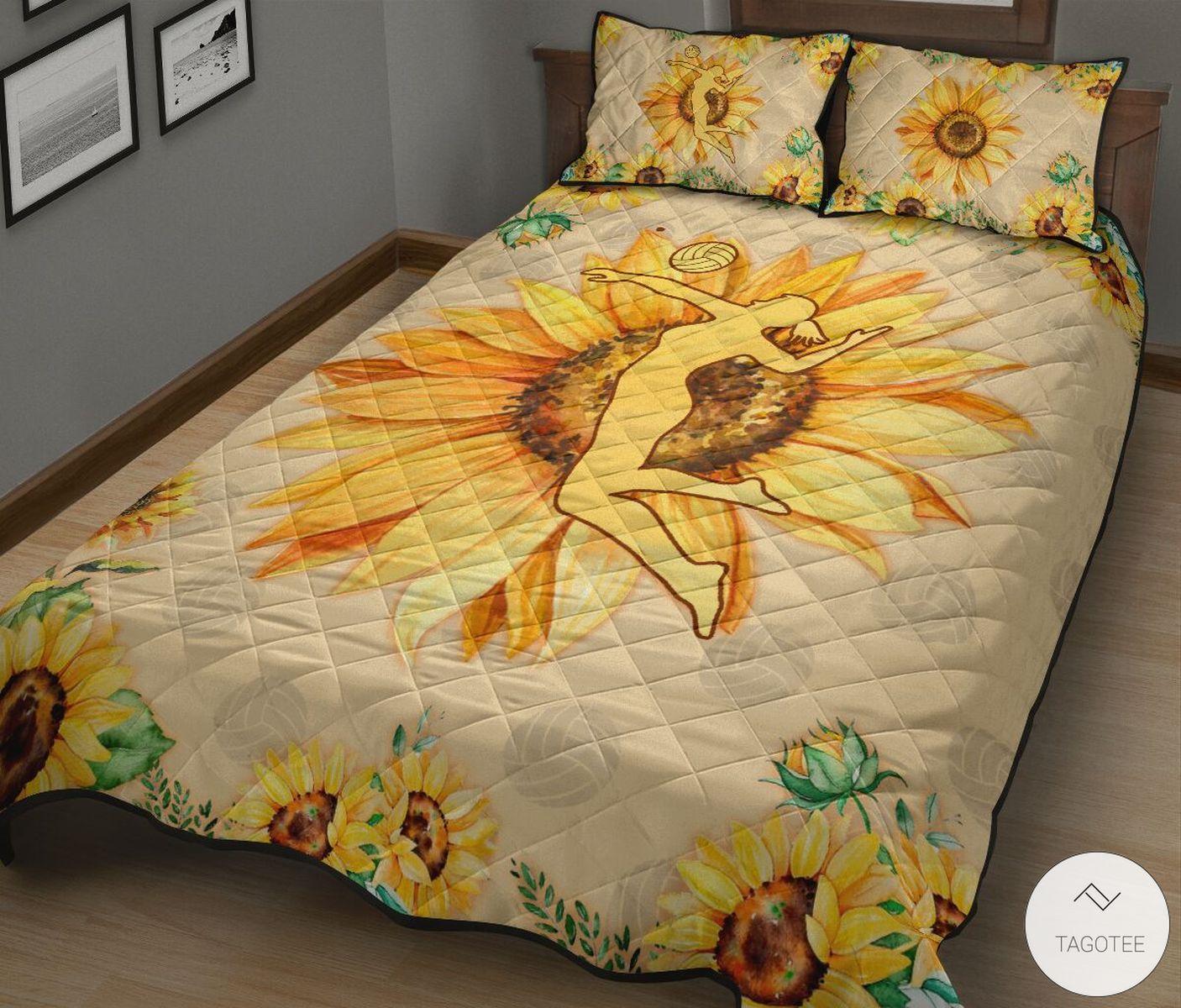 Volleyball Girl Sunflower Quilt Bedding Setz