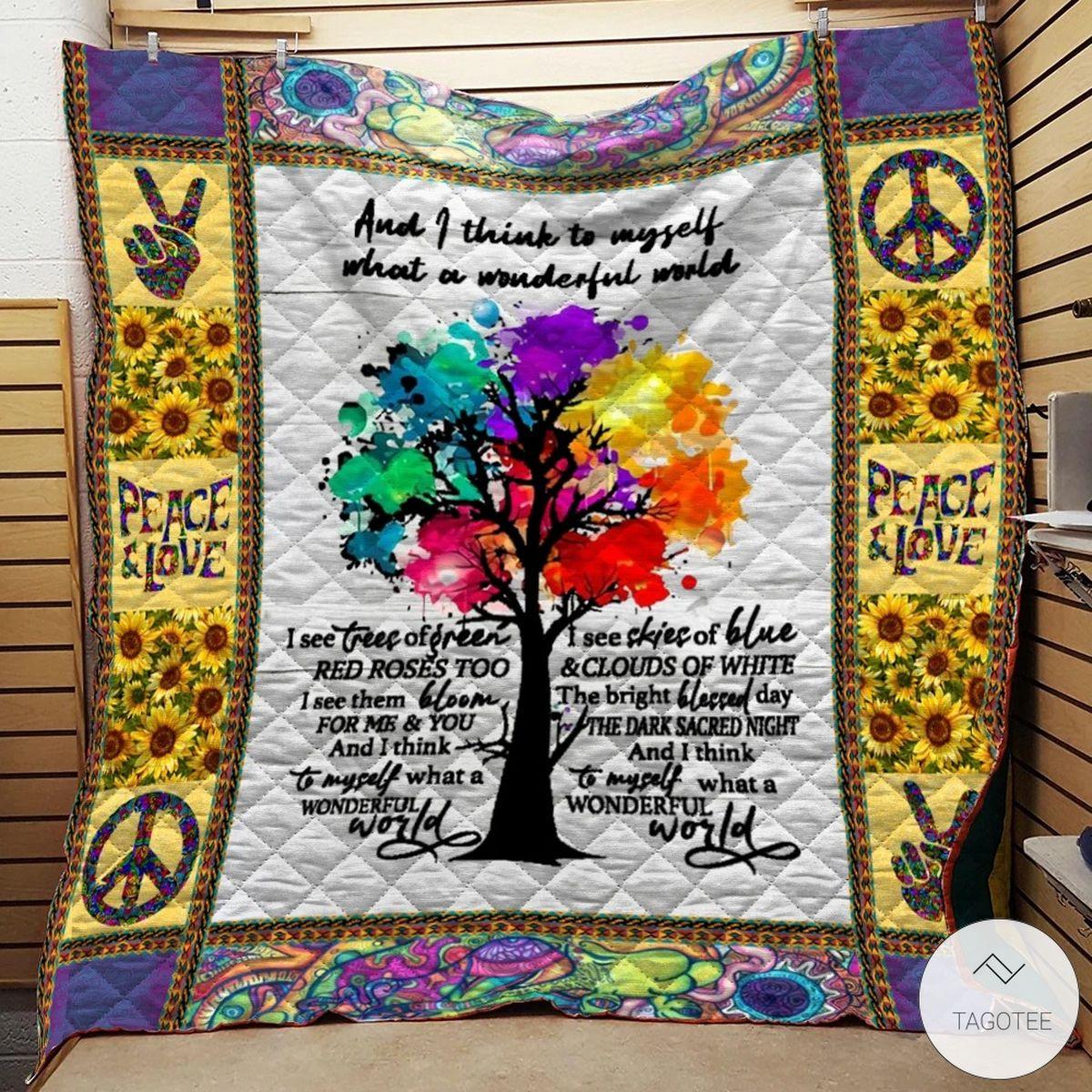 What A Wonderful World Hippie Quilt