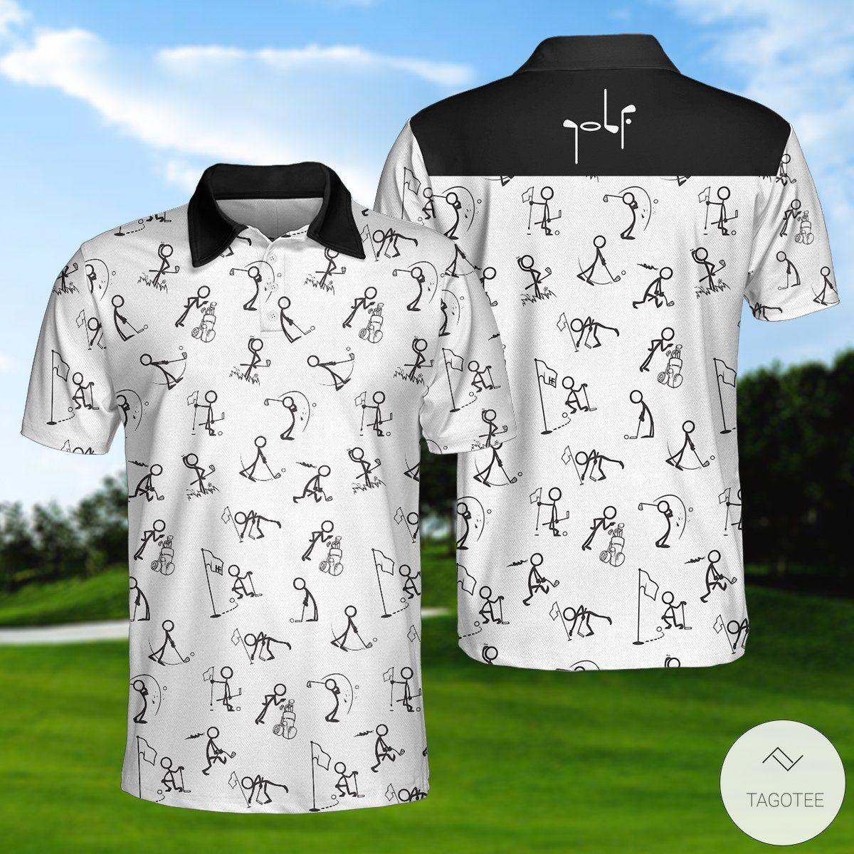 White Stick Figures Playing Golf Pattern Polo Shirtx