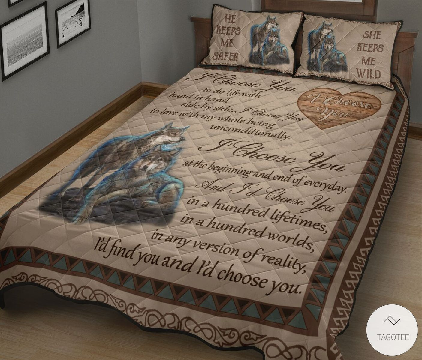 Wolf Couple I Choose You Quilt Bedding Setz