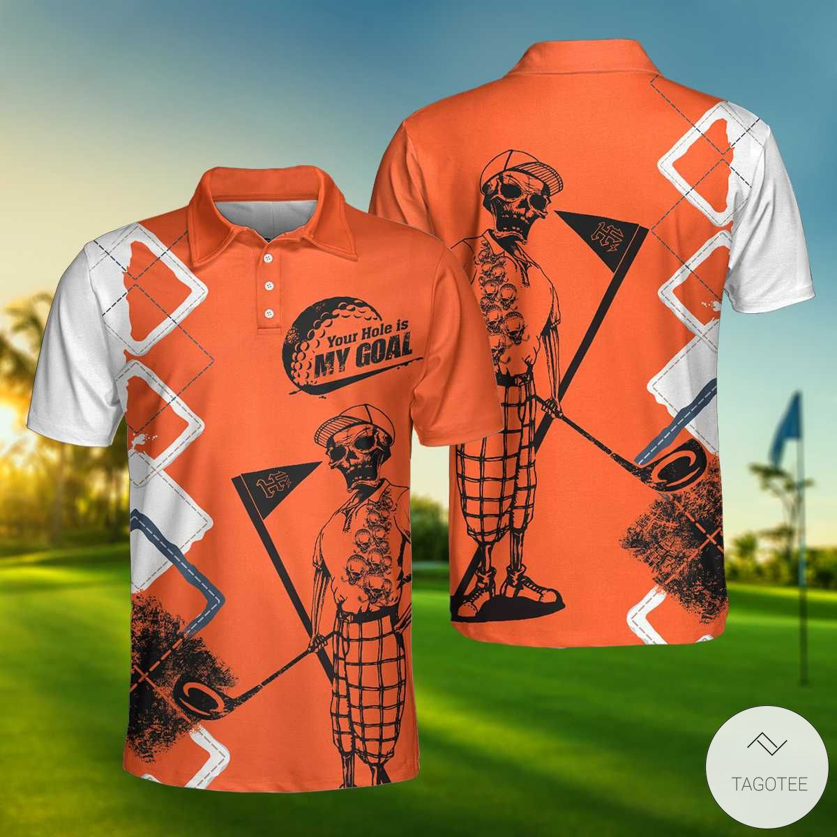Your Hole Is My Goal Orange Polo Shirtx