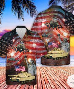 Abrams Battle Tank And Apache 4th Of July Hawaiian Shirt, Beach Shorts