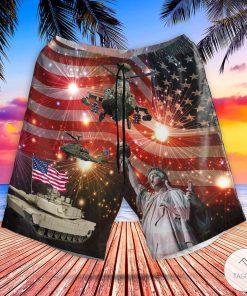 Abrams Battle Tank And Apache 4th Of July Hawaiian Shirt, Beach Shortsz