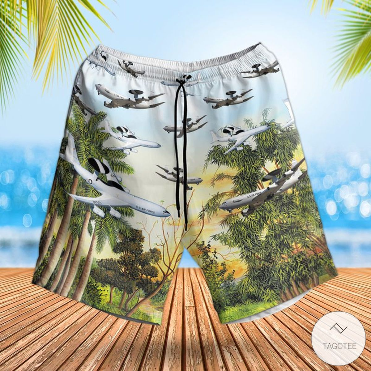 Air Force Boeing E-3 Sentry Hawaiian Shirt, Beach Shortsz