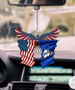 Air National Guard And United States Eagle Flag Car Hanging Ornament