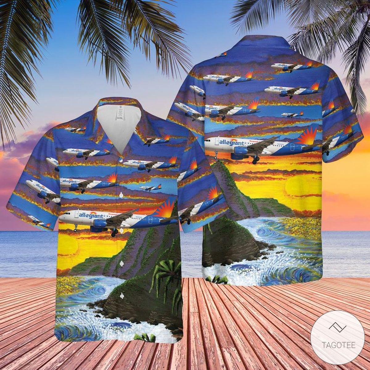 Allegiant Air Airbus A319-112 Hawaiian Shirt, Beach Shorts