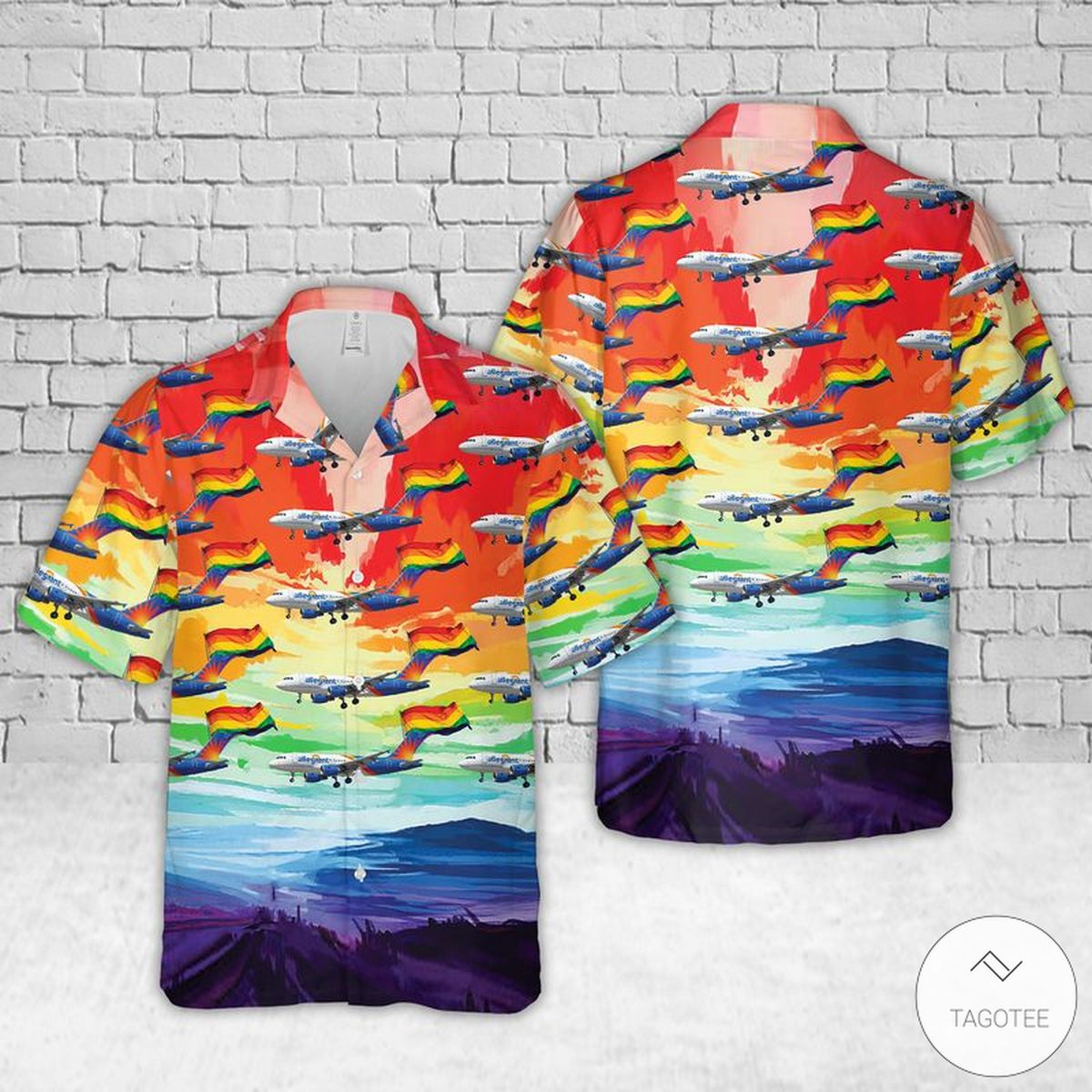 Allegiant Airlines Fly With LGBT Pride Hawaiian Shirt