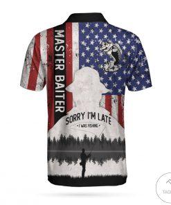 American Flag Master Baiter Born To Fish Polo Shirtx