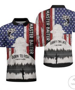 American Flag Master Baiter Born To Fish Polo Shirtz