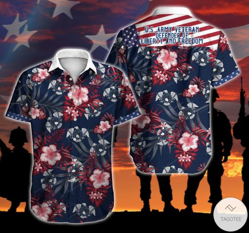 American US Army Veteran Defender Of Liberty And Freedom Button Shirt