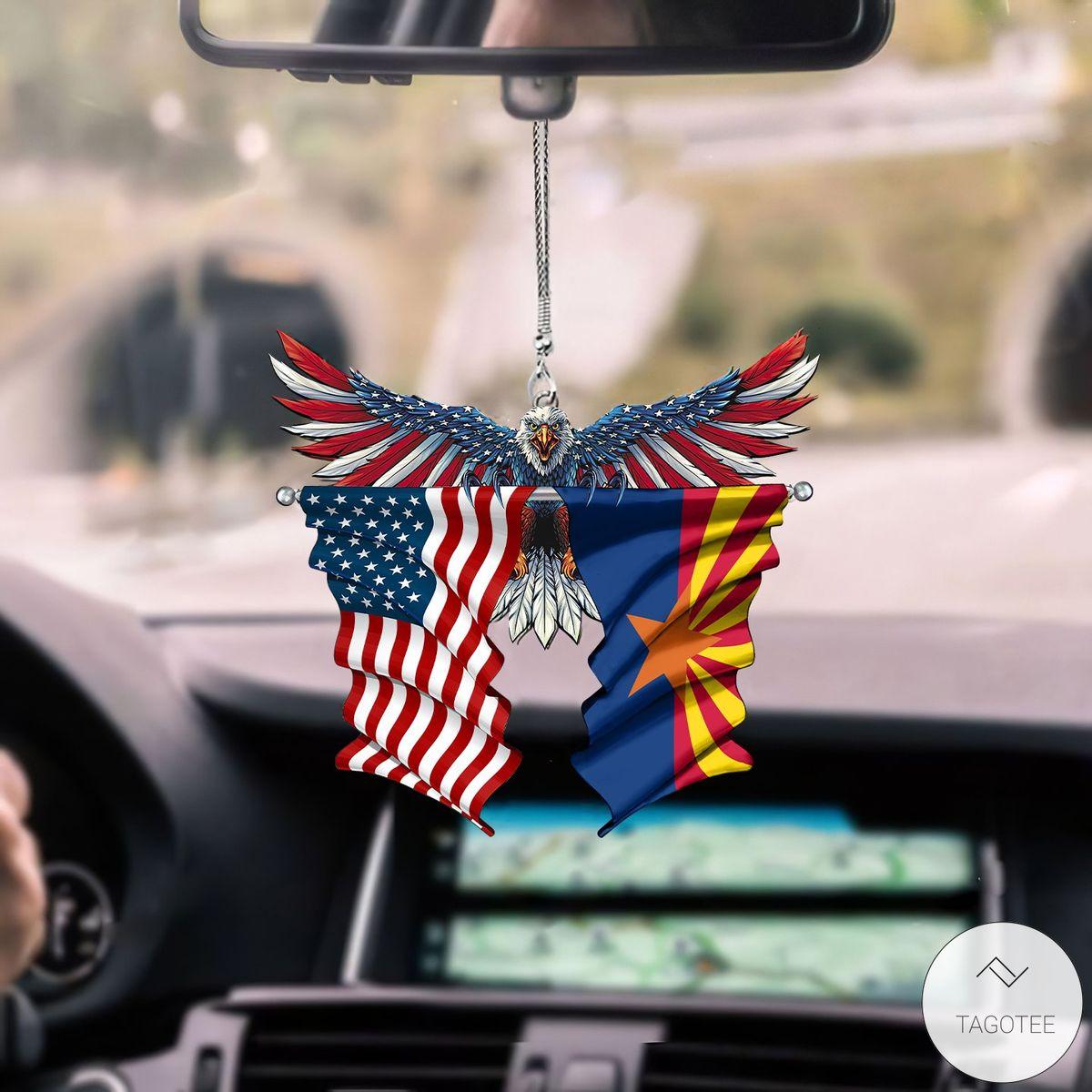 Arizona State Flag and United States Marine Corps Flag Car Hanging Ornament