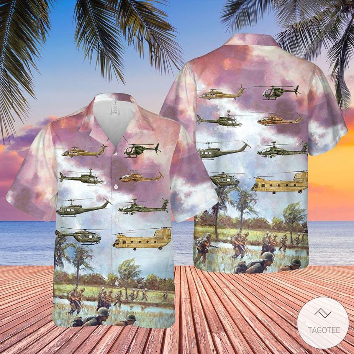 Army Aviation Rotary Aircraft Hawaiian Shirt, Beach Shorts