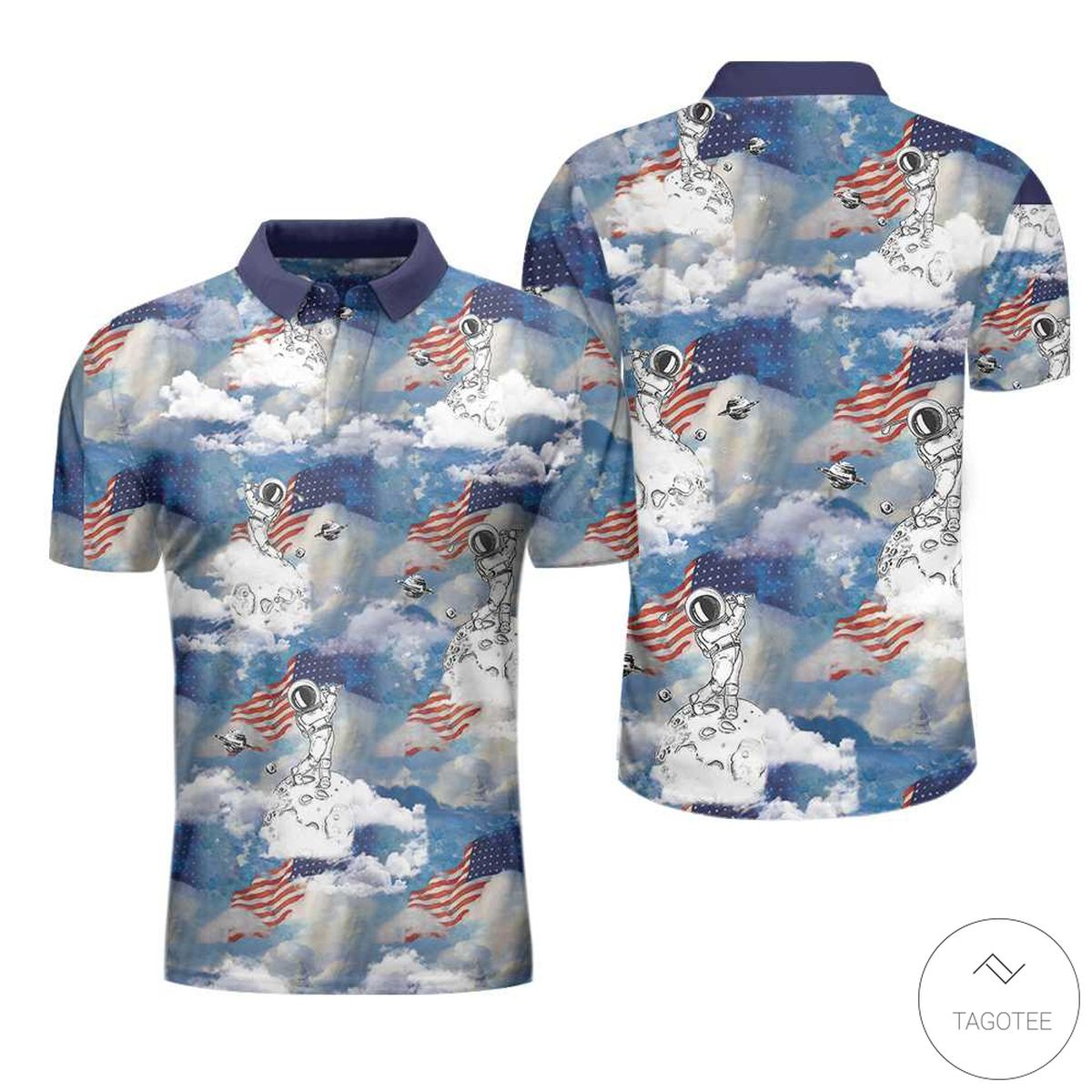 Astronaut Plays Golf In Space American Flag Polo Shirtx