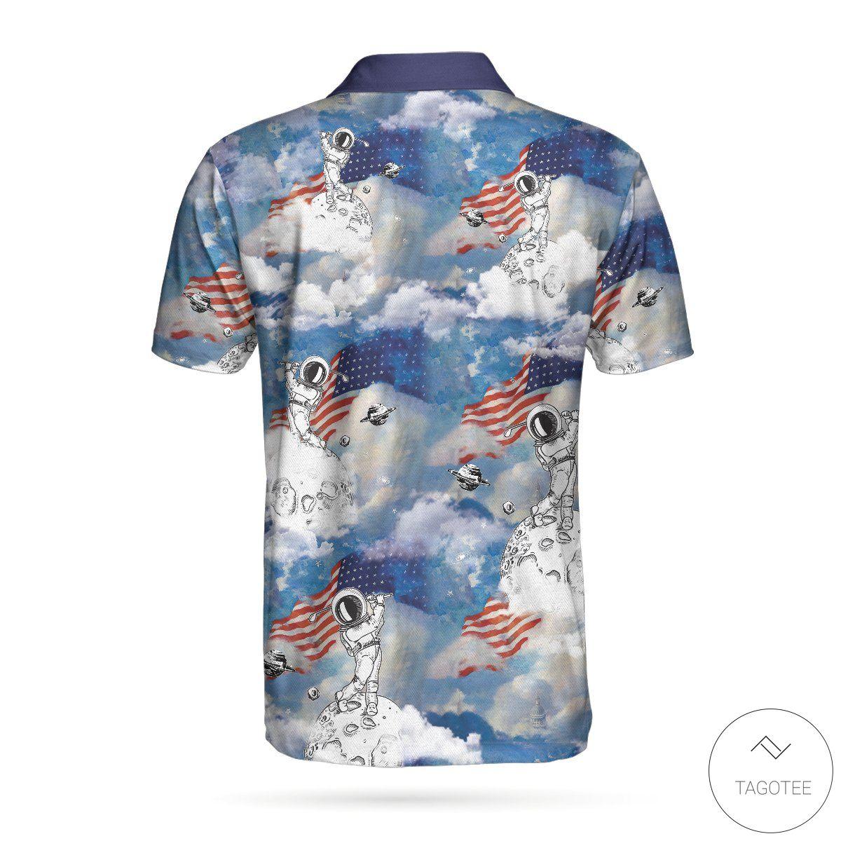 Astronaut Plays Golf In Space American Flag Polo Shirtz