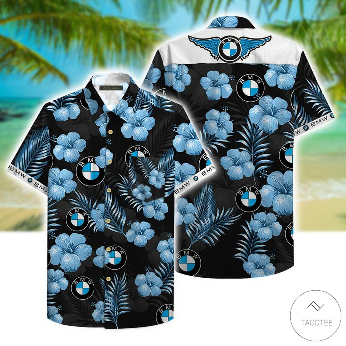 BMW Tropical Pattern Hawaiian Shirt