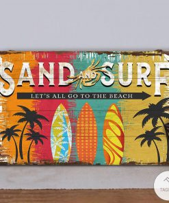 Beach Sand And Surf Let's All Go To The Beach Rectangle Wood Sign z