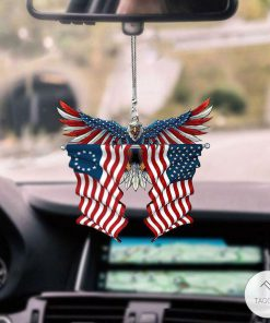 Betsy Ross Flag and United States Eagle Flag Car Hanging Ornament