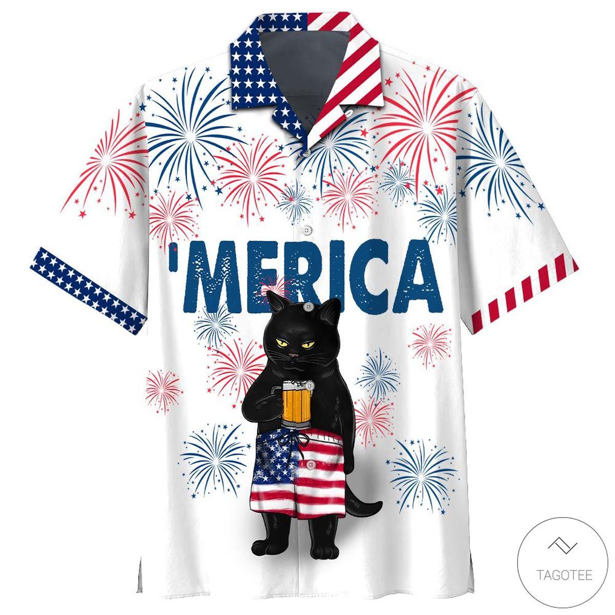 Black Cat Drink Beer Firework Independence Day Hawaiian Shirt, Beach Shorts