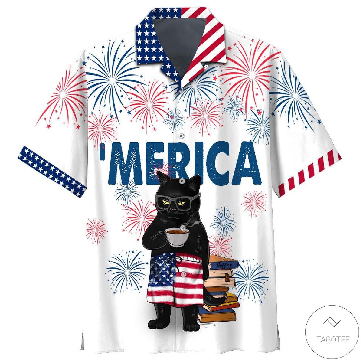 Black Cat Drink Coffee Hawaiian Shirt, Beach Shorts