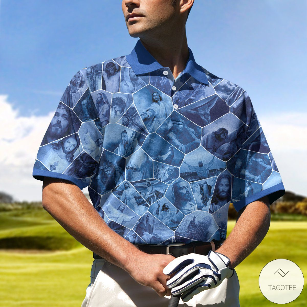 Blue Stained Glass Polo Shirtc