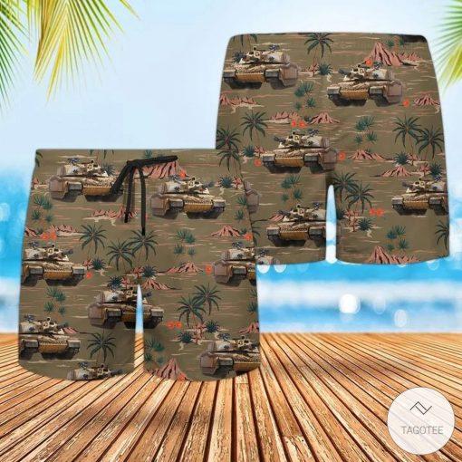British Army Challenger 2 Combat Vehicle Hawaiian Shirt, Beach Shortsv