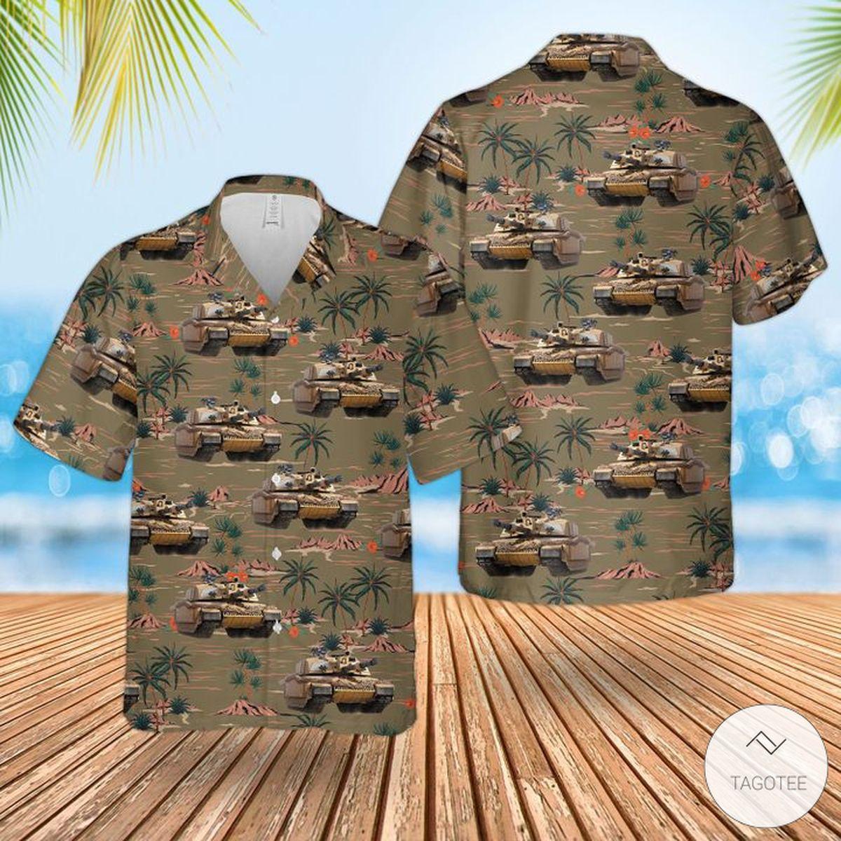 Great Quality British Army Challenger 2 Combat Vehicle Hawaiian Shirt, Beach Shorts