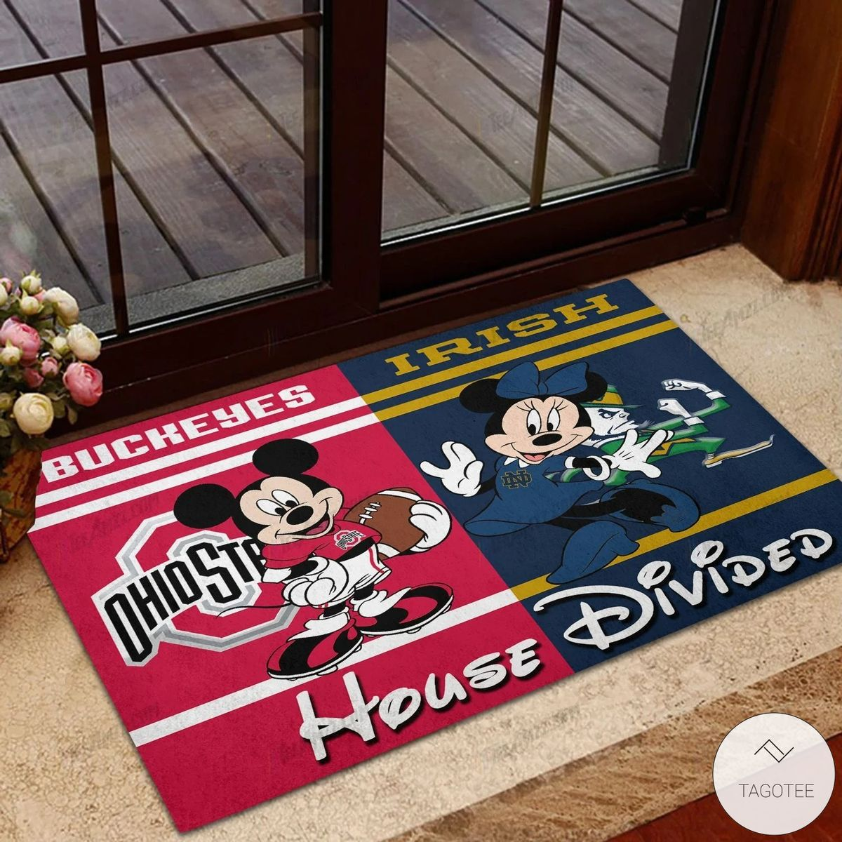 Buckeyes Ohio State House Divided Notre Dame Fighting Irish Mickey Mouse And Minnie Mouse Doormat