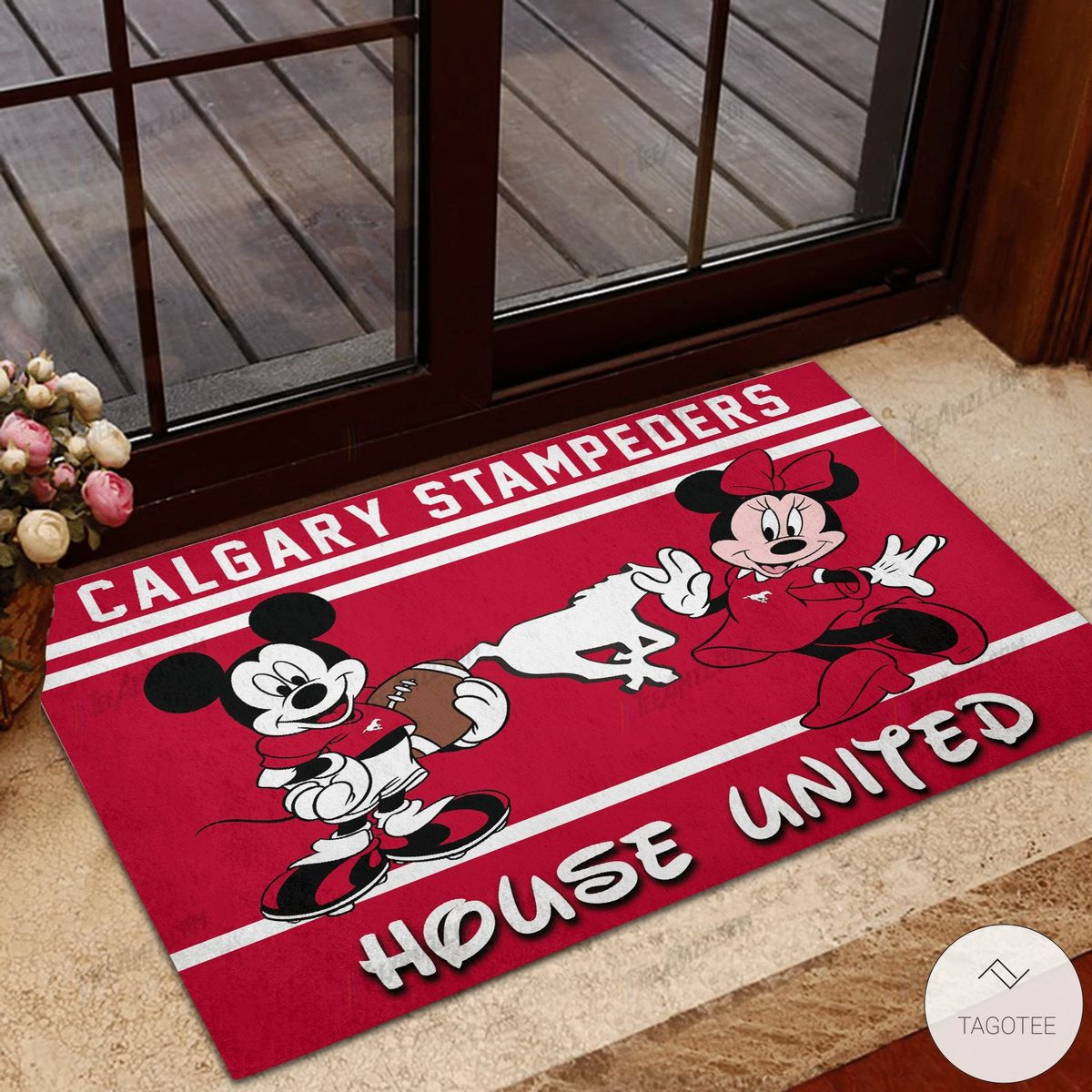 Calgary Stampeders House United Mickey Mouse And Minnie Mouse Doormat