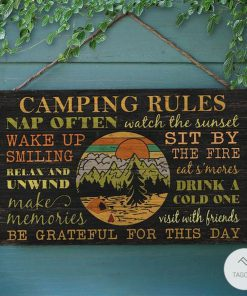 Camping Rules Nap Often What The Sunset Rectangle Wood Sign