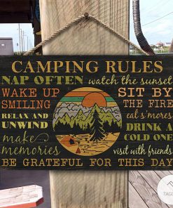 Camping Rules Nap Often What The Sunset Rectangle Wood Signz