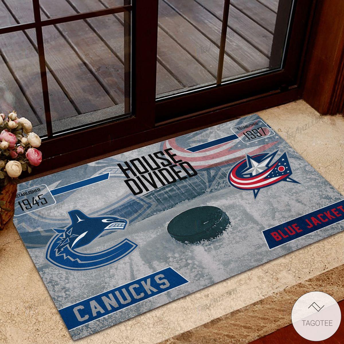 Canucks House Divided Blue Jacket Doormat