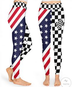 Checkered Flag Racing 3D Leggings