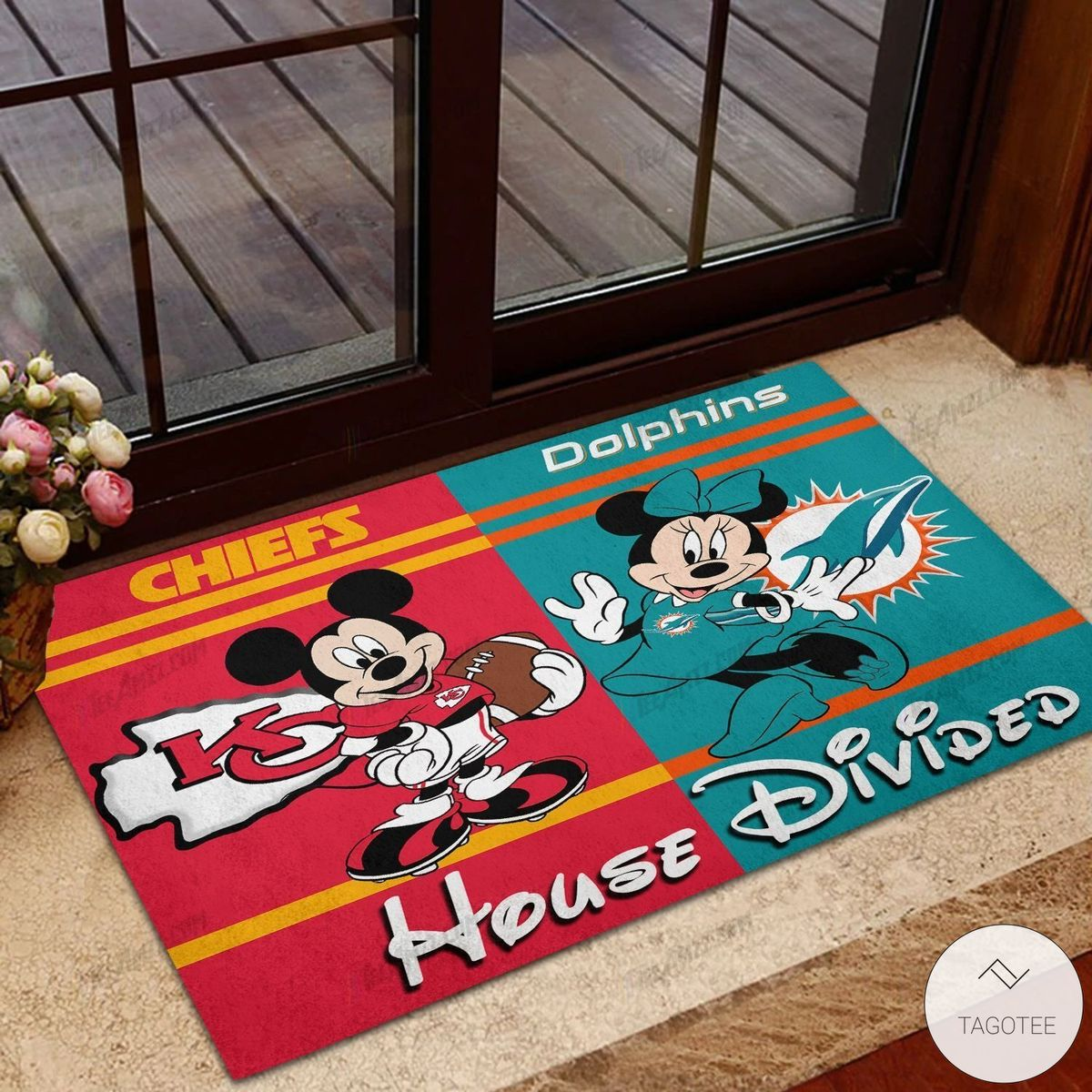 Chiefs House Divided Dolphins Mickey Mouse And Minnie Mouse Doormat