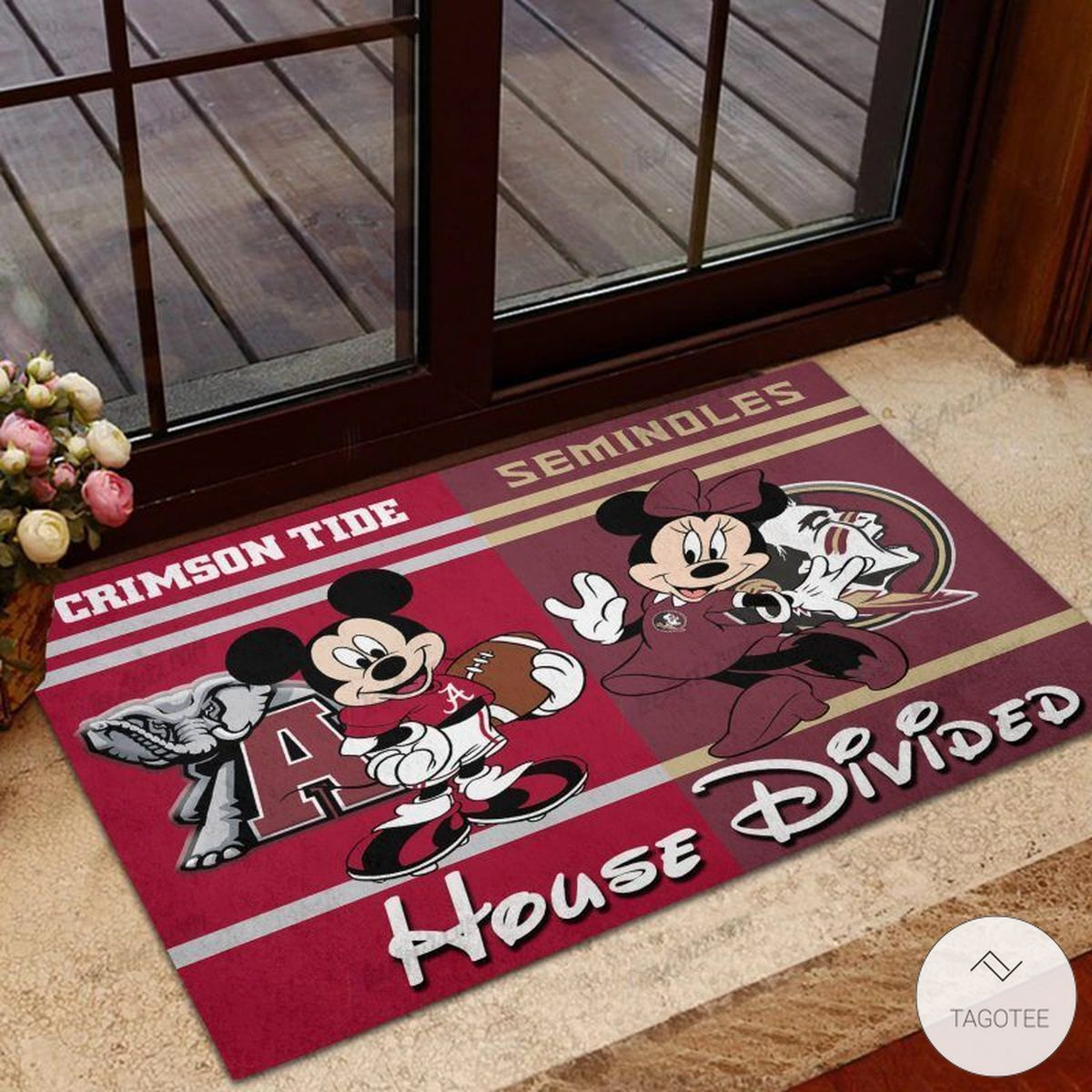 Crimson Tide House Divided Seminoles Mickey Mouse And Minnie Mouse Doormat