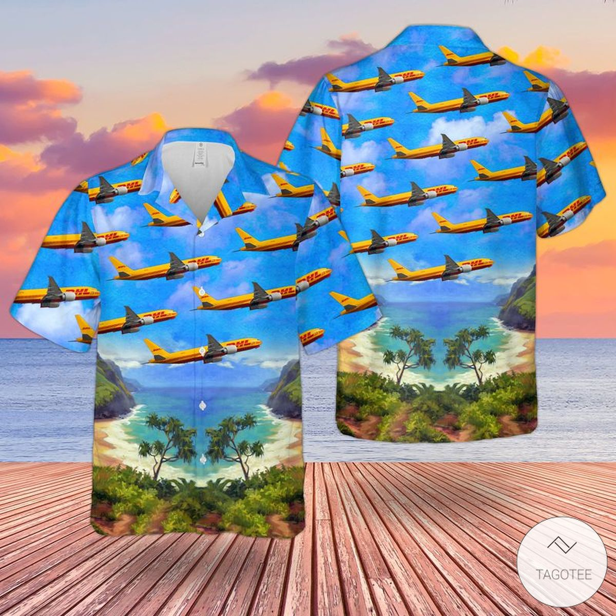 DHL (Kalitta Air) Boeing 777-FBL Hawaiian Shirt, Beach Short