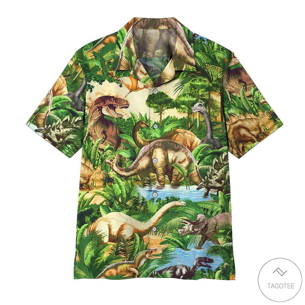 Dinosaur Green Jungle Tropical Hawaiian Shirt